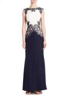Tadashi Shoji Embellished Colorblock Gown