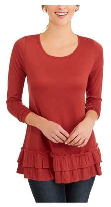 Faded Glory Women's Long Sleeve Tunic Length T-Shirt With Ruffle Hem