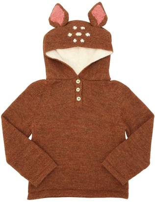 Oeuf Bambi Hooded Baby Alpaca Knit Sweater