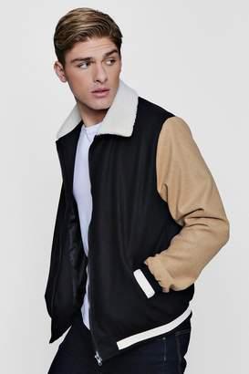 boohoo Contrast Sleeve Borg Collar Varsity Jacket