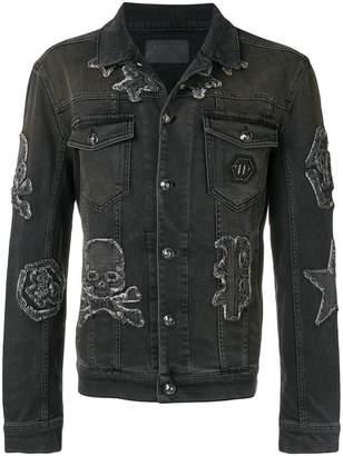 Philipp Plein skull and logo patch denim jacket