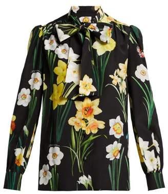 Dolce & Gabbana Daffodil Print Silk Crepe De Chine Blouse - Womens - Black Multi