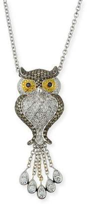 Roberto Coin 18k Diamond Pave Owl Pendant Necklace