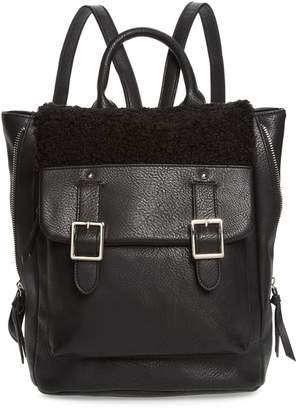 Violet Ray New York Faux Shearling Trim Buckle Backpack