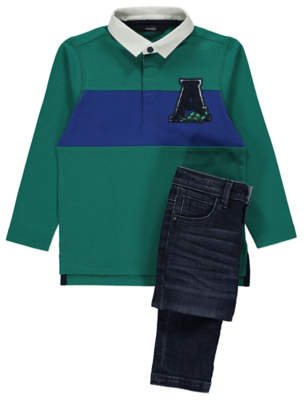 George Green Stripe Rugby Shirt and Jeans Outfit