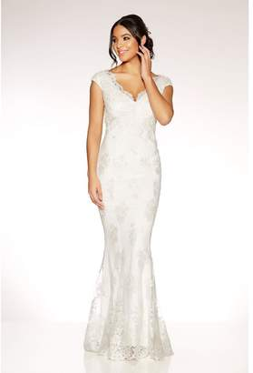 Quiz Clara White Lace Bardot Fishtail Bridal Dress
