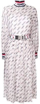 Fendi logo flared midi dress