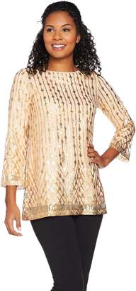 Bob Mackie Bob Mackie's 3/4 Sleeve Sequin Pull-Over Top