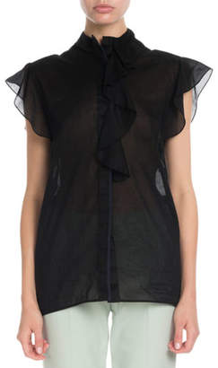 Victoria Victoria Beckham Flute-Sleeve Ruffle Button-Front Cotton Gauze Shirt