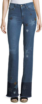 RED Valentino Stone-Washed Stretch Denim Jeans w/ Star Patches