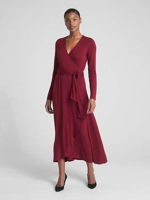 Gap Long Sleeve Knit Wrap Midi Dress