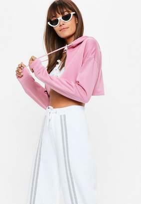 Missguided Pink Super Crop Zip Through Tracksuit Top