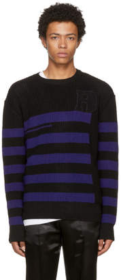 Raf Simons Black and Blue Striped Roundneck Sweater