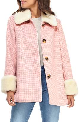 Gal Meets Glam Eloise Check Coat with Faux Fur Trim