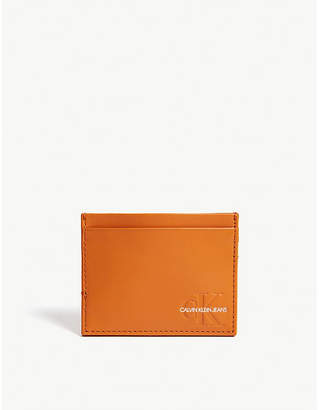 Calvin Klein Logo leather card holder