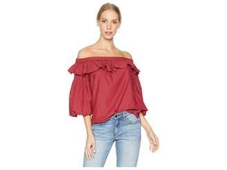 BCBGMAXAZRIA Short Sleeve Shirred Top Women's Clothing