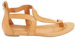 Django & Juliette NEW Womens Flats Jackson Leather Flat Sandal Tan - Shoes