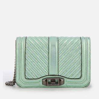 Rebecca Minkoff Women's Chevron Quilted Small Love Cross Body Bag - Mint