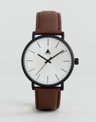 Asos Leather Watch In Brown With Matte Black Case
