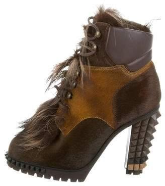 Fendi Ponyhair & Fox Fur Ankle Boots