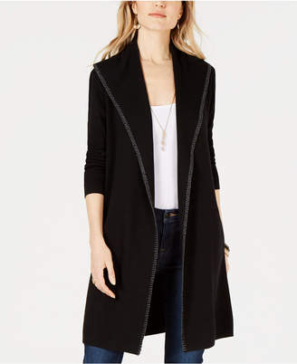 Style&Co. Style & Co Blanket-Stitch Trim Sweater Jacket