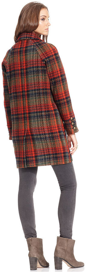 Free People Double-Breasted Plaid Coat