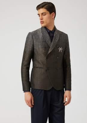 Emporio Armani Faded-Colour Jacquard Double-Breasted Jacket