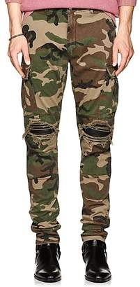 Amiri Men's MX1 Leather-Inset Cotton Cargo Pants - Olive