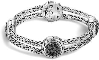 John Hardy Kali Sterling Silver Pure Lava Fire Four Station Bracelet with Black Sapphire