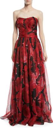 Pamella Roland Strapless Floral-Print Mesh Organza Evening Gown
