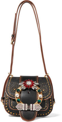 Miu Miu Dahlia Embellished Textured-leather Shoulder Bag - Black