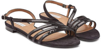 Tabitha Simmons Betty Sequin Suede Sandals with Leather