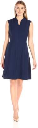 Ellen Tracy Women's Solid A-line Dress with Front Zipper-Navy 10
