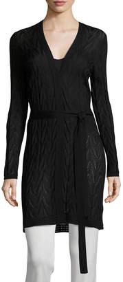 M Missoni Long Wool-Blend Open Cardigan w/ Tie