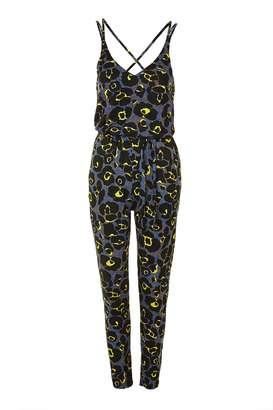 Topshop Leopard Print Jersey Jumpsuit