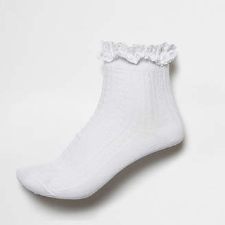 River Island White frill cable knit socks