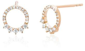 Ef Collection 14K Rose Gold Diamond Open Variated Stud Earrings - 0.25 ctw