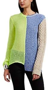 Maison Margiela Women's Mixed-Knit Crewneck Sweater - Yellow