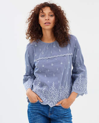 J.Crew Embroidered Bell Sleeve Top