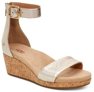 UGG Women's Zoe II Leather Cork Wedge Ankle Strap Sandals