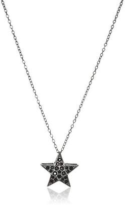 """Swarovski Sterling Silver Gunmetal Finish Star Pendant Necklace Made with Crystal (18"""")"""