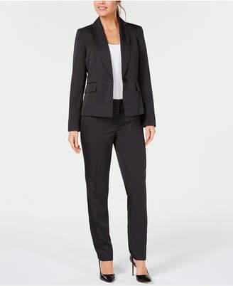 Le Suit Petite One-Button Mini Pinstriped Pantsuit