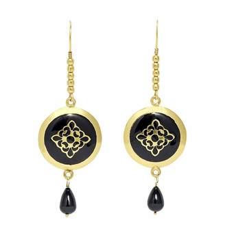 Mela Artisans Bold Baroque Earrings in Black & Gold