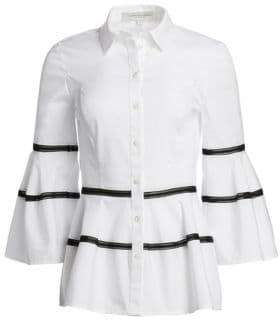 Carolina Herrera Striped Bell Sleeve Blouse