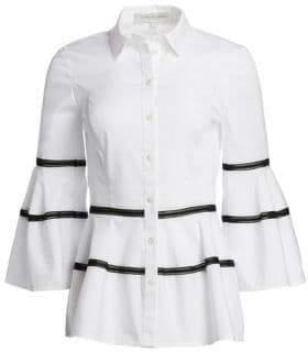 Carolina Herrera Striped Bell Sleeve Blouse