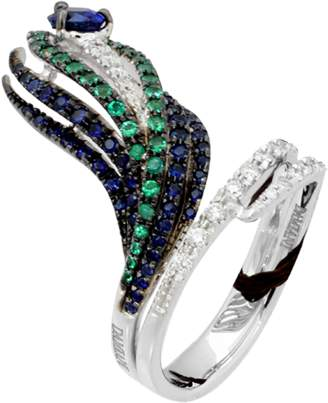 a3b45046a Damiani 18ct White Gold 0.19cttw Diamond Sapphire and Emerald Peacock Ring  - Ring Size M