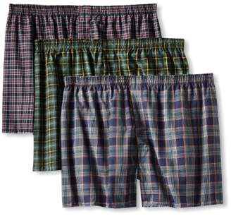 Fruit of the Loom Men's BigTartan Woven Boxer(Pack of 3)