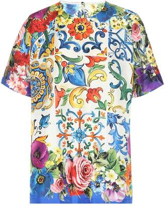 Dolce & Gabbana Tile-printed silk top