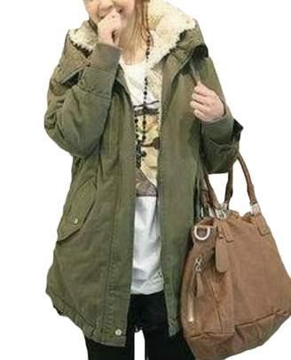 S-Fly Women Winter Thick Cotton Fleece Lined Hooded Anoraks Sherpa Parka Jacket 2XL