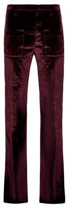 Vetements Flared Velvet Trousers - Womens - Burgundy